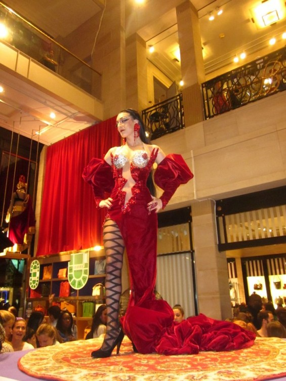 A dancer took stage in the lobby of Henri Bendel on Fifth Ave in New York