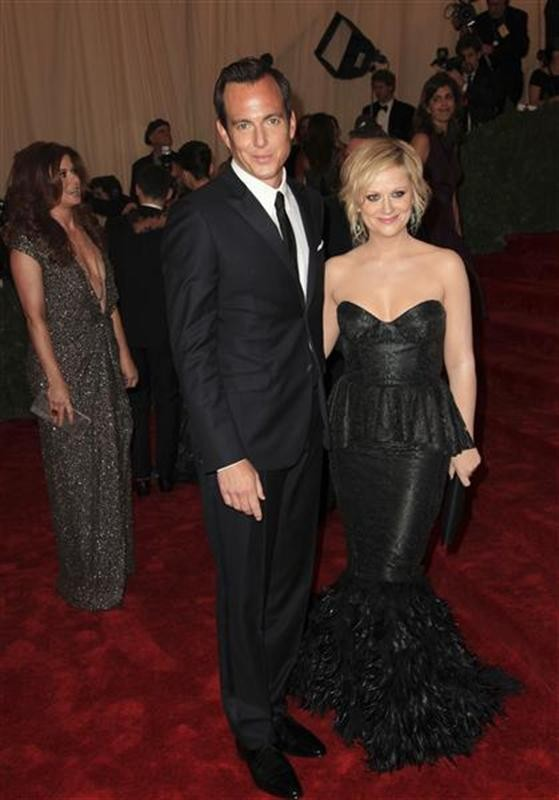 "Will Arnett and Amy Poehler arrive at the Metropolitan Museum of Art Costume Institute Benefit celebrating the opening of ""Schiaparelli and Prada: Impossible Conversations"" exhibition in New York, May"
