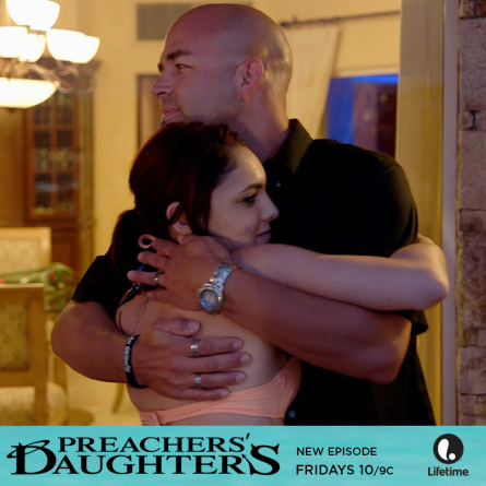 Jayde is shocked when her father shows up in Cabo after Pastor Tilo called him about her alleged hangover on the March 27, 2015 episode of 'Preachers' Daughters'