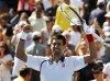 Novak Djokovic of Serbia celebrates after defeating David Ferrer of Spain in their men's singles semifinals match at the U.S. Open tennis tournament in New York September 9, 2012.