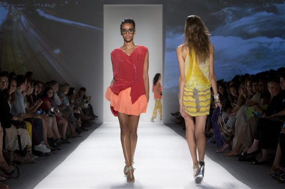 Models present creations at the Tracy Reese Spring/Summer 2013 collection during New York Fashion Week September 9, 2012.