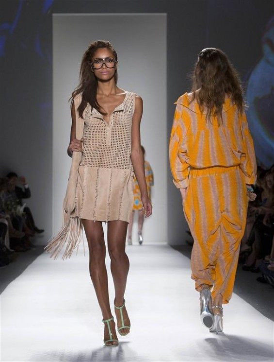 Model present creations at the Tracy Reese Spring/Summer 2013 collection during New York Fashion Week September 9, 2012. R