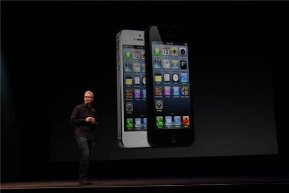 Tim Cook unveils the iPhone 5 in San Francisco on September 12, 2012.
