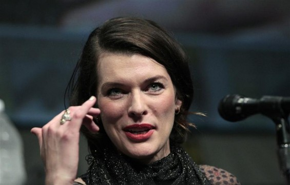 Cast member Milla Jovovich speaks during a panel for &#034;Resident Evil: Retribution&#034; during the Comic Con International convention in San Diego, California July 13, 2012.