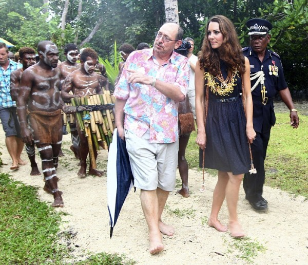Britain's Catherine, the Duchess of Cambridge, chats with John Sullivan upon her arrival on the private Tavanipupu Island, Solomon Islands, September 17, 2012.