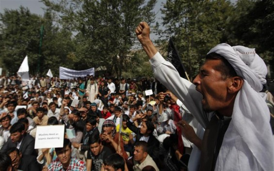 Afghan protesters shout slogans during a demonstration in Kabul, September 16, 2012. Hundreds of Afghans protested against a U.S.-made film they say insults the Prophet Mohammad.