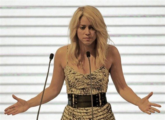 Colombian singer Shakira speaks at the CEO Summit that is part of the Americas Summit in Cartagena April 13, 2012.