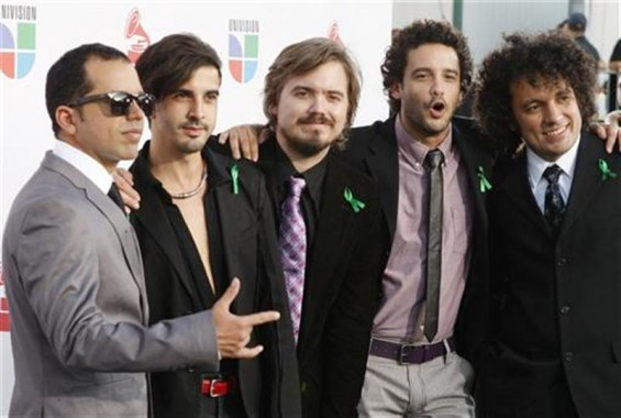 Members of the Venezuelan band Los Amigos Invisibles pose at the 10th annual Latin Grammy awards in Las Vegas, Nevada November 5, 2009. 