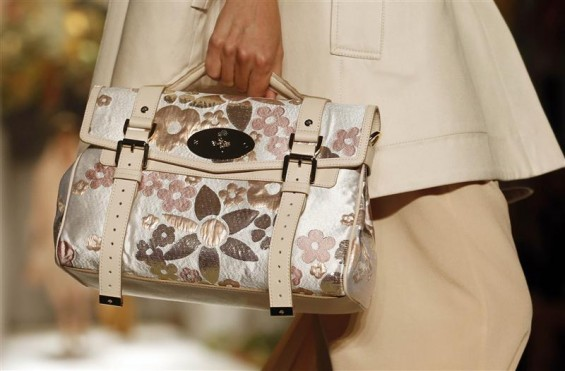 A model presents a creation from the Mulberry Spring/Summer 2013 collection at London Fashion Week September 18, 2012.
