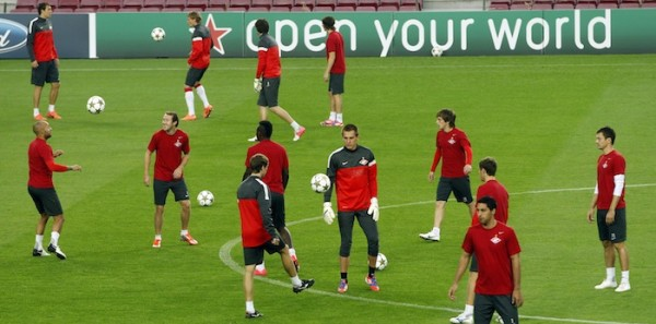 Spartak Moscow players take part in a training session on the eve of their Champions League soccer match against Barcelona at Camp Nou stadium in Barcelona