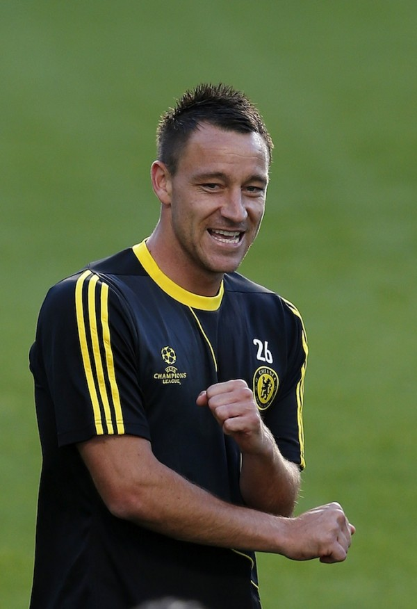 Chelsea's John Terry reacts during a team training session at Stamford Bridge in London