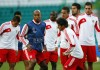 Benfica's Luisao takes part in a training session with teammates ahead of their Champions League soccer match against Celtic, at Celtic Park stadium in Glasgow