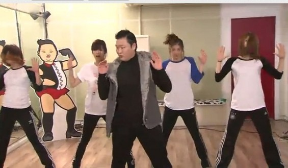 "South Korean rapper Psy dancing to Beyonce's ""Single Ladies."""