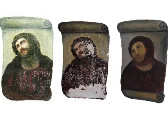 The evolution of the restoration done to the painting &#034;Ecce Homo&#034; by a Spanish elderly woman is seen here. First photo taken in 2010, second taken in July 2012 perhaps after the elderly woman had alre