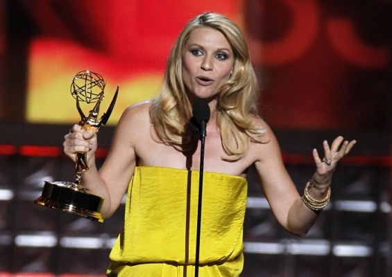 "Actress Claire Danes accepts the award for outstanding lead actress in a drama series for her role in ""Homeland"" at the 64th Primetime Emmy Awards in Los Angeles, September 23, 2012."