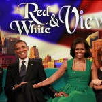 "U.S. President Barack Obama and first lady Michelle Obama take part in a taping of the ""The View"" chat show at ABC's studios in New York, September 24, 2012. The show will air on September 25."