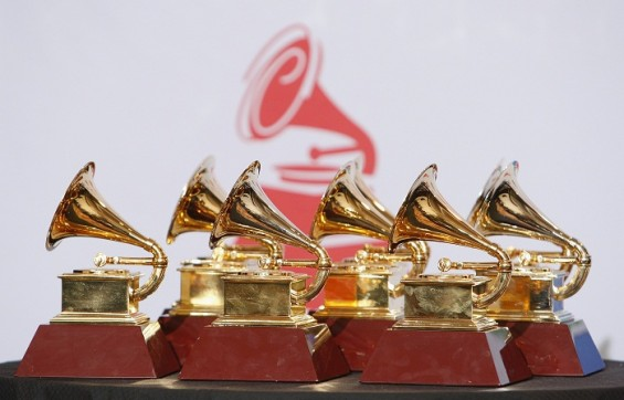 Six of the eight awards won by Calle 13 are pictured backstage at the 12th annual Latin Grammy Awards in Las Vegas, Nevada November 10, 2011 .