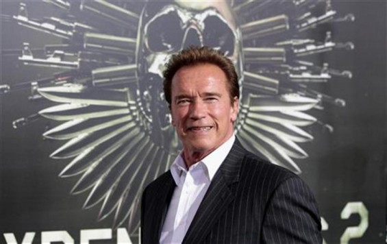 "Cast member Arnold Schwarzenegger poses at the premiere of ""The Expendables 2"" at the Grauman's Chinese theatre in Hollywood, California August 15, 2012. The movie opens in the U.S. on August 17."