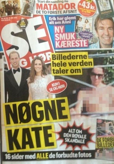 Danish tabloid Se Og Hor Magazine published Kate Middleton&#039;s bottomless pictures this week, according to reports.