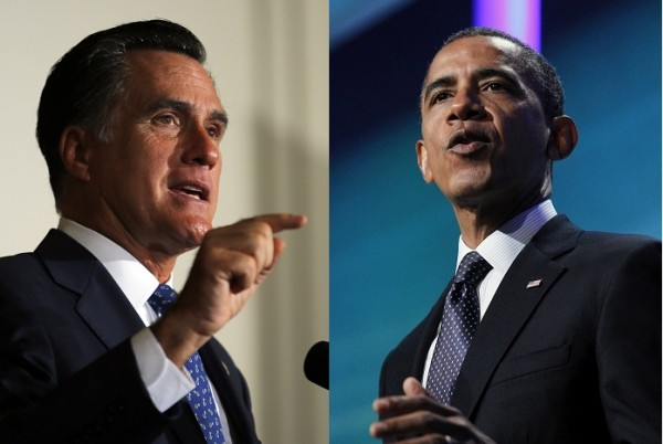 A combined photo of Republican Presidential candidate Mitt Romney and President Barack Obama is shown a day ahead of the first presidential debate on October 2, 2012.
