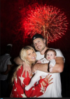 Jessica Simpson with fiance Eric Johnson and their daughter Maxwell