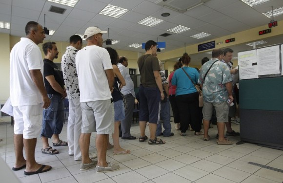 An unemployment line in Athens