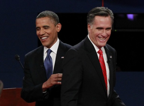 President Obama and Republican presidential nominee Romney share a laugh at the end of the first presidential debate in Denver