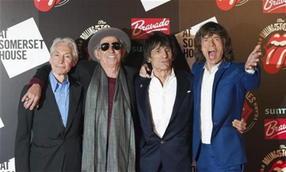 The Rolling Stones (L-R) Charlie Watts, Keith Richards, Ronnie Wood and Mick Jagger pose as they arrive for the opening of the exhibition &#034;Rolling Stones: 50&#034; at Somerset House in London July 12, 2012