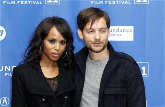 "Cast members Tobey Maguire and Kerry Washington arrive for the premiere of ""The Details"" during the Sundance Film Festival in Park City, Utah January 24, 2011."