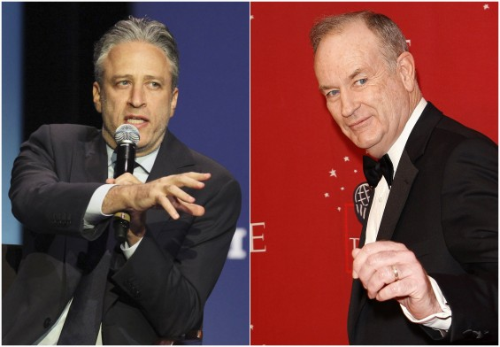 File photographs show Jon Stewart speaking at George Washington University in Washington March 31, 2012 and Bill O'Reilly attending Time magazine's 100 most influential people gala in New York May 8,