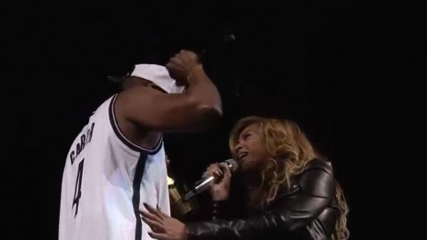 "Jay-Z and Beyonce perform ""Young Forever"" at the Barclays Center in Brooklyn New York on October 6 at the finale of a series of eight concerts."