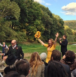 Amber Tamblyn Yellow Wedding Dress