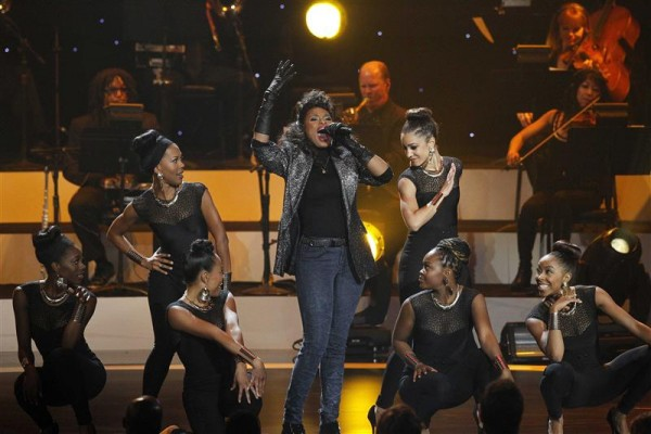 "Singer Jennifer Hudson performs a medley during the taping of ""We Will Always Love You: A Grammy Salute To Whitney Houston"" at the Nokia theatre in Los Angeles, California October 11, 2012."