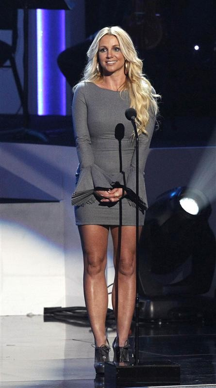 "Singer Britney Spears speaks on stage during the taping of ""We Will Always Love You: A Grammy Salute To Whitney Houston"" at the Nokia theatre in Los Angeles, California October 11, 2012."