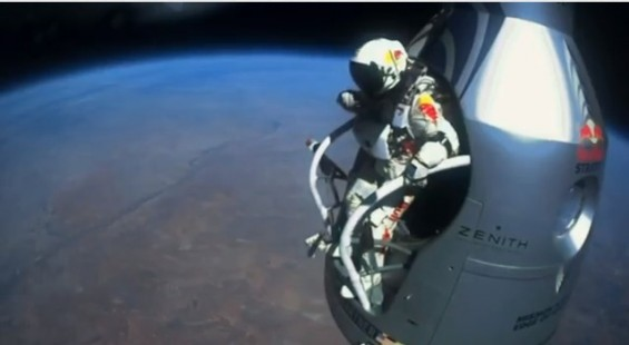 Felix Baumgartner broke the speed of sound after jumping from an altitude of 128,097 feet, the highest ever attempted by a human being on October 14, 2012.