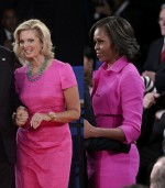 Ann Romney and Michelle Obama wore a bright pink dress to the second presidential debate on Tuesday night.