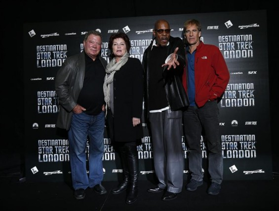 "(L-R) William Shatner, Kate Mulgrew, Avery Brooks and Scott Bakula, who played Star Trek captains, pose for photographers at the ""Destination Star Trek London"" event in London October 19, 2012."