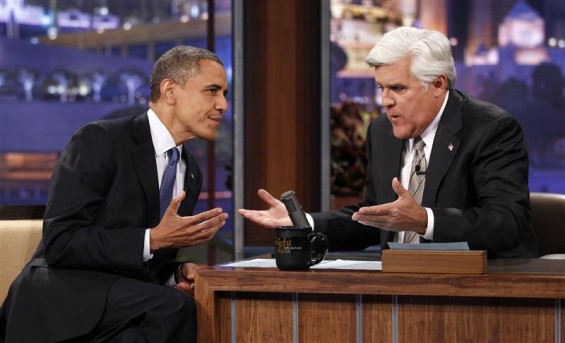 U.S. President Barack Obama speaks to host Jay Leno (R) as he makes an appearance on the Tonight Show in Los Angeles, California October 24, 2012. Obama is on a two-day, eight-state campaign swing.
