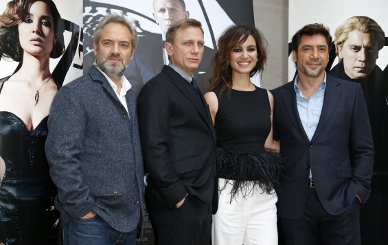 "From L-R, director Sam Mendes, actor Daniel Craig, actress Berenice Marlohe and Spanish actor Javier Bardem pose for photographers during a photocall for the film ""Skyfall"" in Paris October 25, 2012."