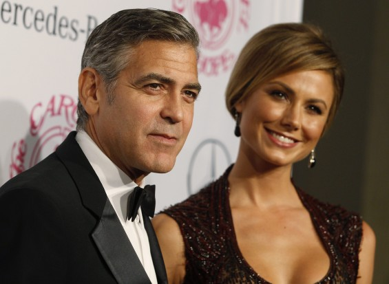Actor George Clooney and girlfriend Stacy Keibler arrive at the 26th Carousel of Hope Ball in Beverly Hills, California October 20, 2012