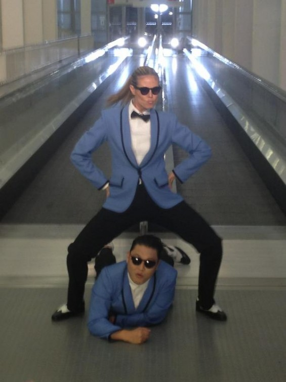 "Heidi Klum Dances ""Gangnam Style"" with Psy for the 2012 MTV Europe Music Awards aired on November 11, 2012."