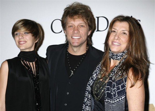 Singer Jon Bon Jovi (C), daughter Stephanie Rose Bon Jovi and wife Dorothea Rose Hurley (R) arrive at the Pre-Grammy Gala presented by the Recording Academy and Clive Davis in Beverly Hills, Californi