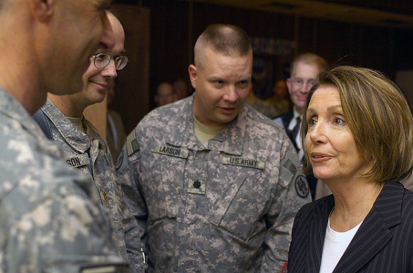 Nancy Pelosi with U.S. troops