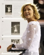 Former tennis great Evert looks on as she is honored at the Rogers Cup tennis tournament in Montreal
