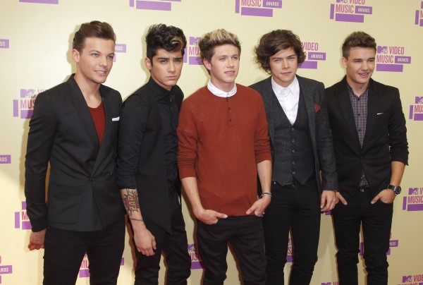 British/Irish boy band One Direction arrive at the 2012 MTV Video Music Awards in Los Angeles, September 6, 2012.