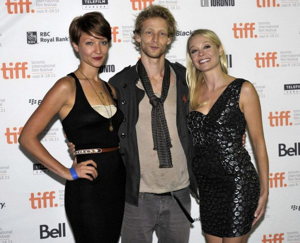 "(L-R) Cast members Gretchen Lodge, Johnny Lewis and Alexandra Holden pose at the screening of the film ""Lovely Molly"" at the 36th Toronto International Film Festival September 14, 2011."