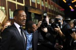 """Actor Eddie Murphy (L) poses as he arrives for the taping of the Spike TV special tribute """"Eddie Murphy: One Night Only"""" at the Saban theatre in Beverly Hills, California November 3, 2012. The program"""