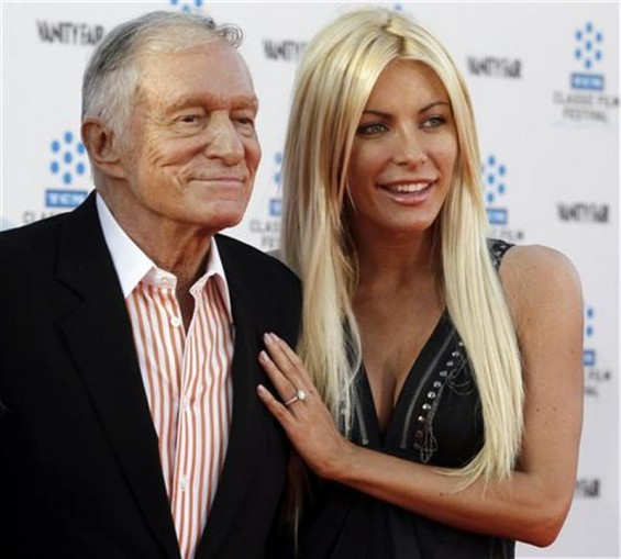 Hugh Hefner and his fiancee, Playboy Playmate Crystal Harris, arrive at the opening night gala of the 2011 TCM Classic Film Festival featuring a screening of a restoration of 'An American In Paris' in