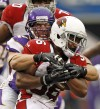 Minnesota Vikings linebacker Chad Greenway  tackles an Arizona Cardinals player