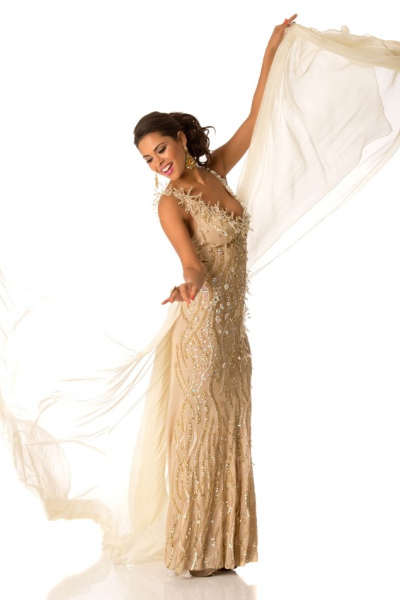 Miss Universe Bolivia 2012, Yessica Mouton, poses in her evening gown at Planet Hollywood Resort and Casino, in Las Vegas, Nevada.